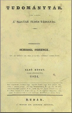 A Tudománytár első kötetének kiadása 1834-ből