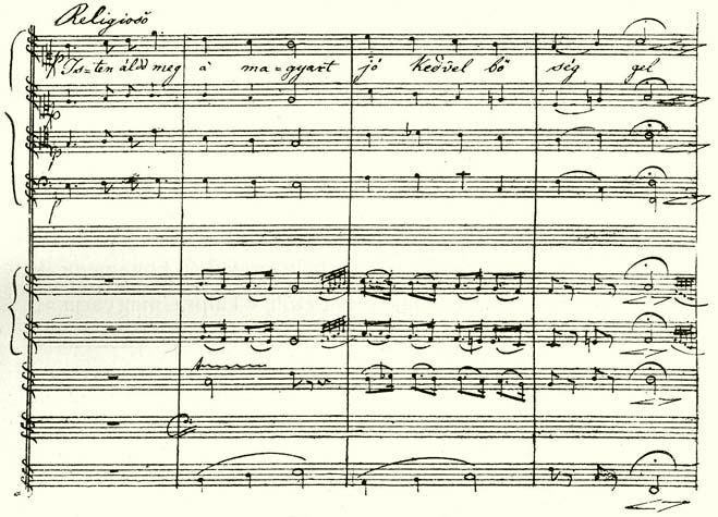 Erkel megzenésített Himnusz kéziratának kezdete