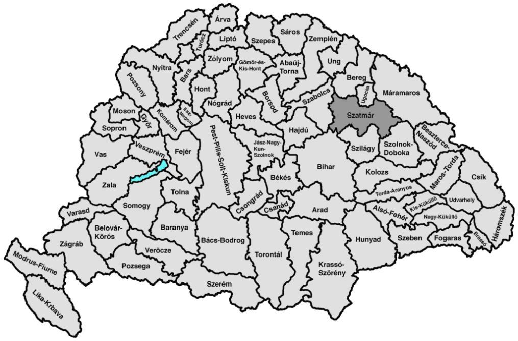 Szatmár vármegye elhelyezkedése a királyi vármegyék között