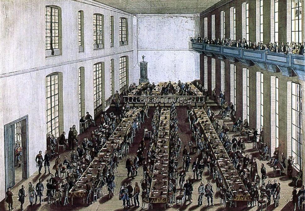 Az alsótábla ülésterme az 1832-36. évi pozsonyi országgyűlésen