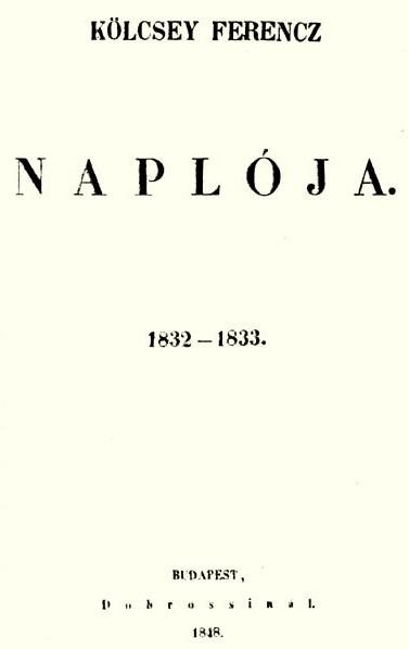 Kölcsey Ferenc Országgyűlési naplójának 1848-as kiadása