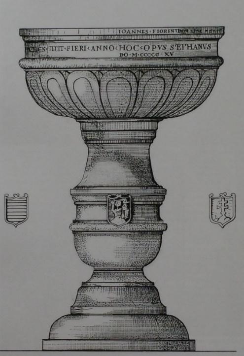 A keresztelőkút rajza a címerekkel