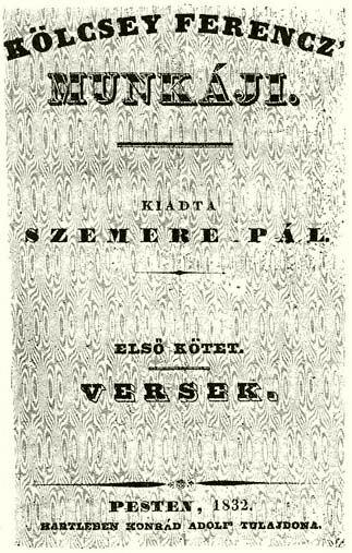 Kölcsey Ferenc 1832-ben megjelent verseskötete