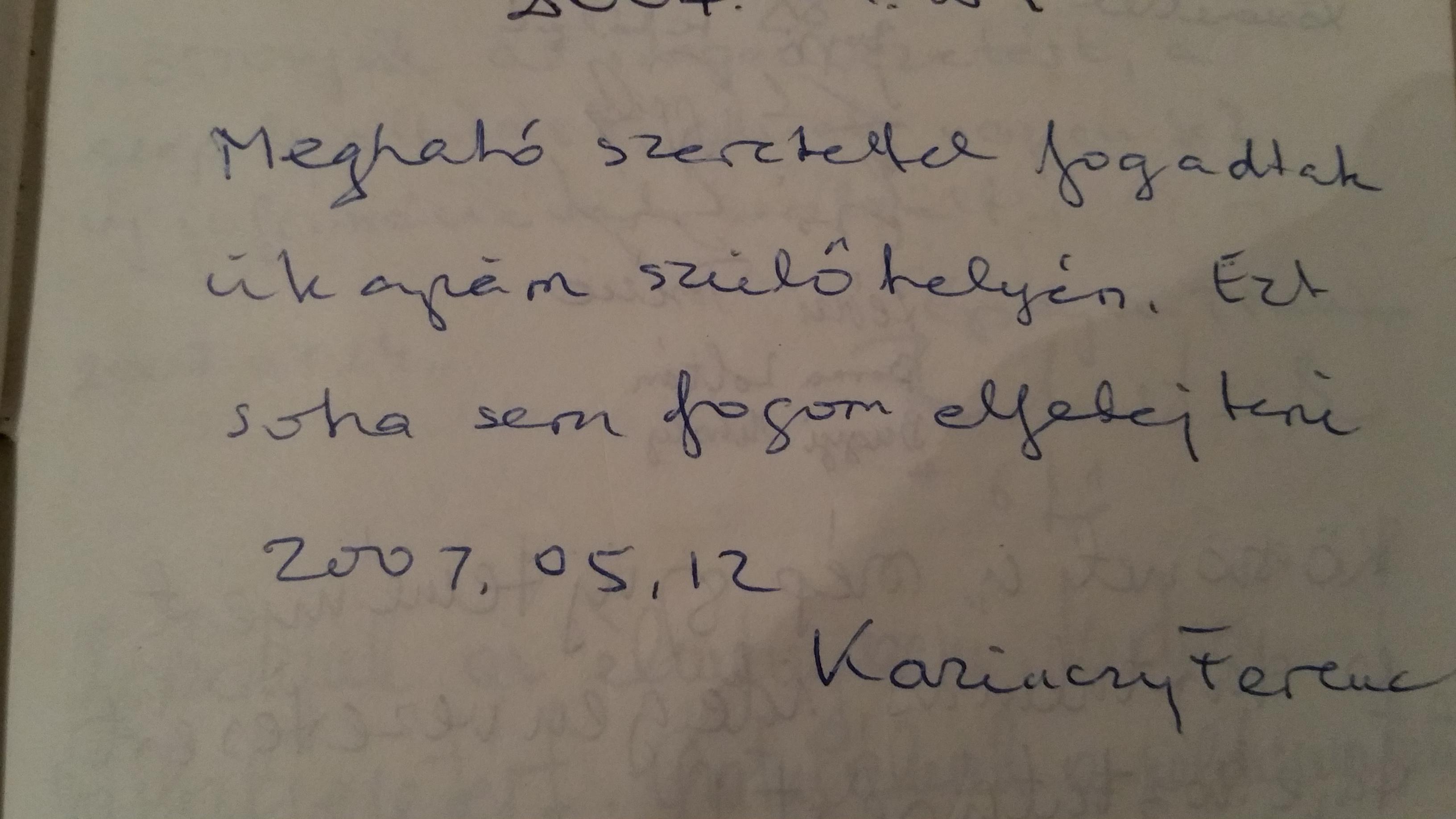 Kaziczy Ferenc ükunokájának bejegyzése