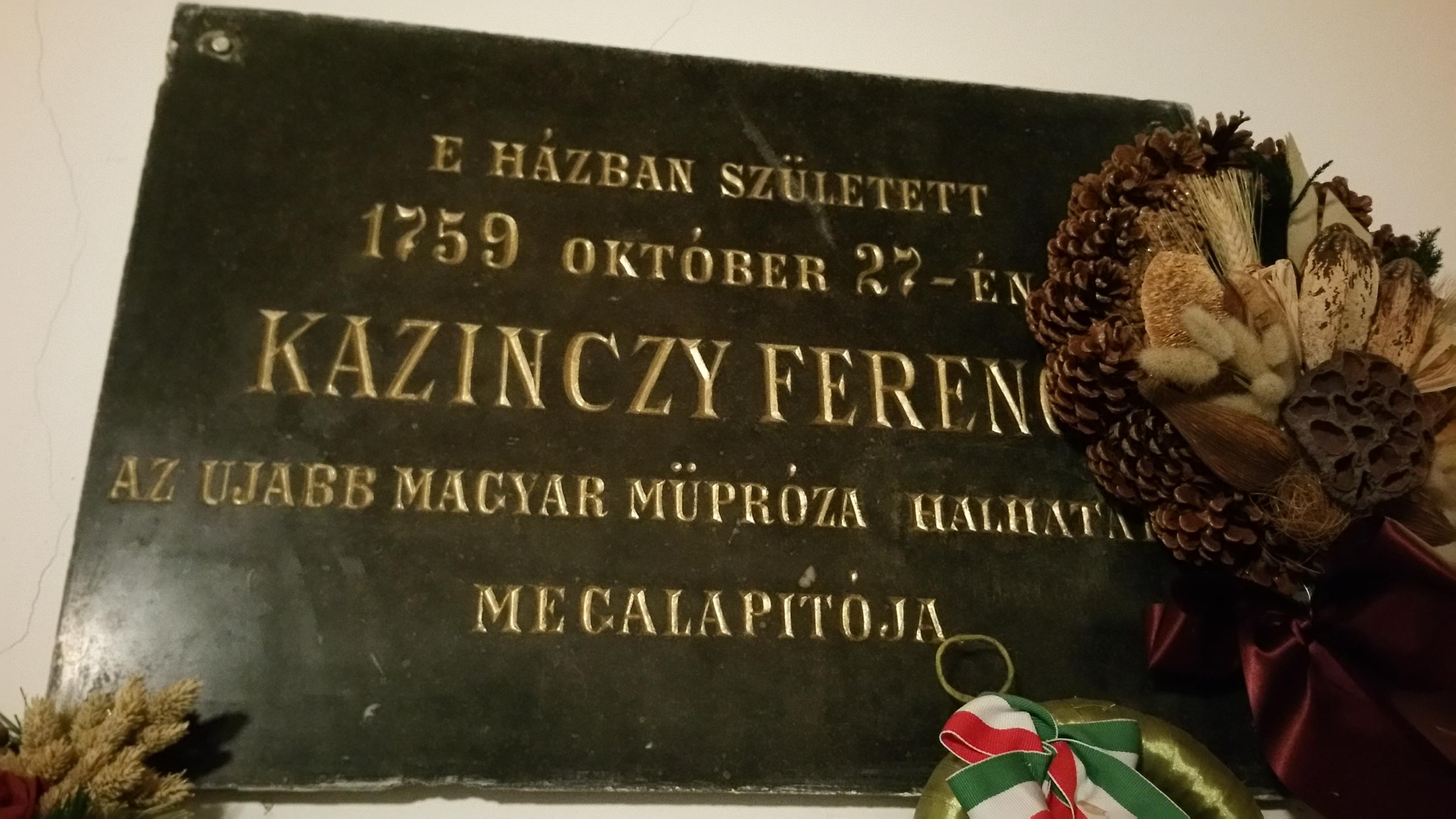 Kazinczy Ferenc emléktábla