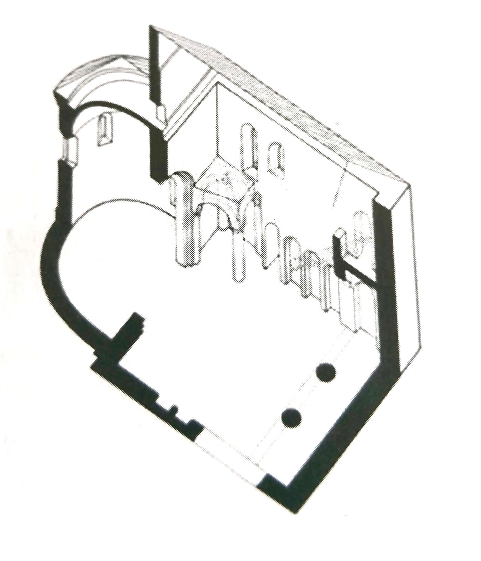 A templom axonometrikus rajza