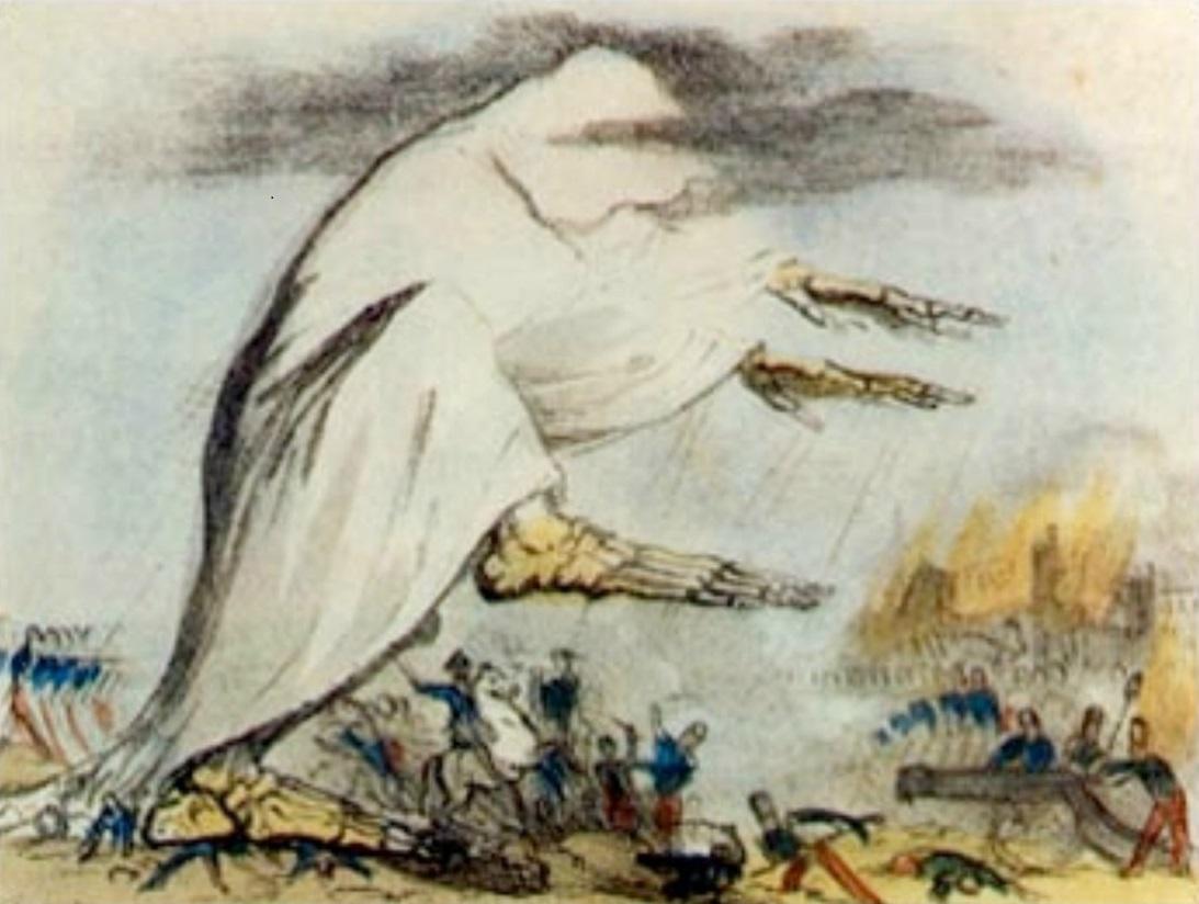 A kolera allegorikus ábrázolása a XIX. századból