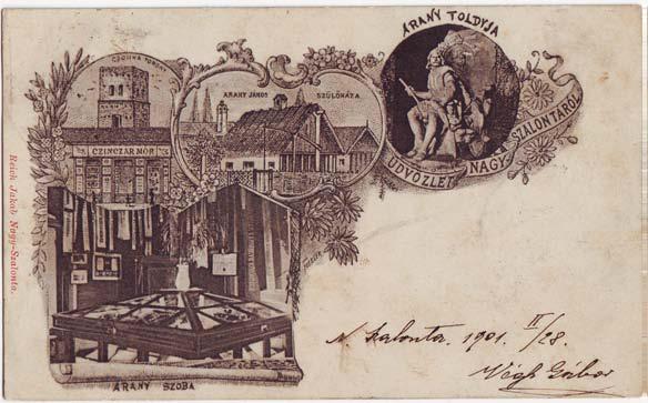 Nagyszalontát ábrázoló képeslap a századforduló idején