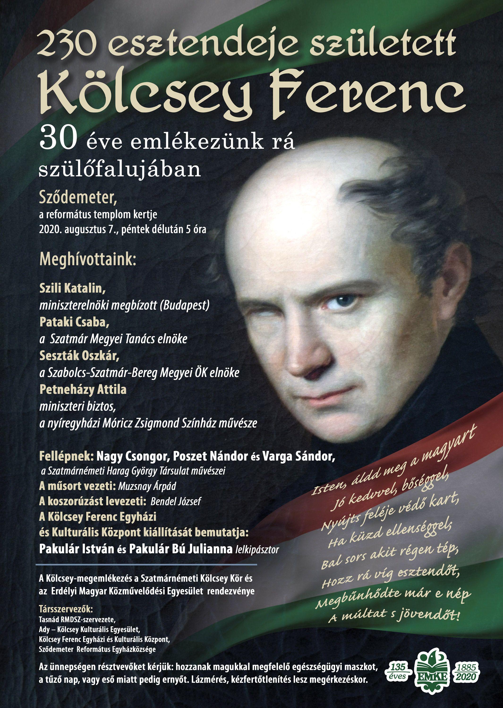 230 éve született Kölcsey - a megemlékezés plakátja